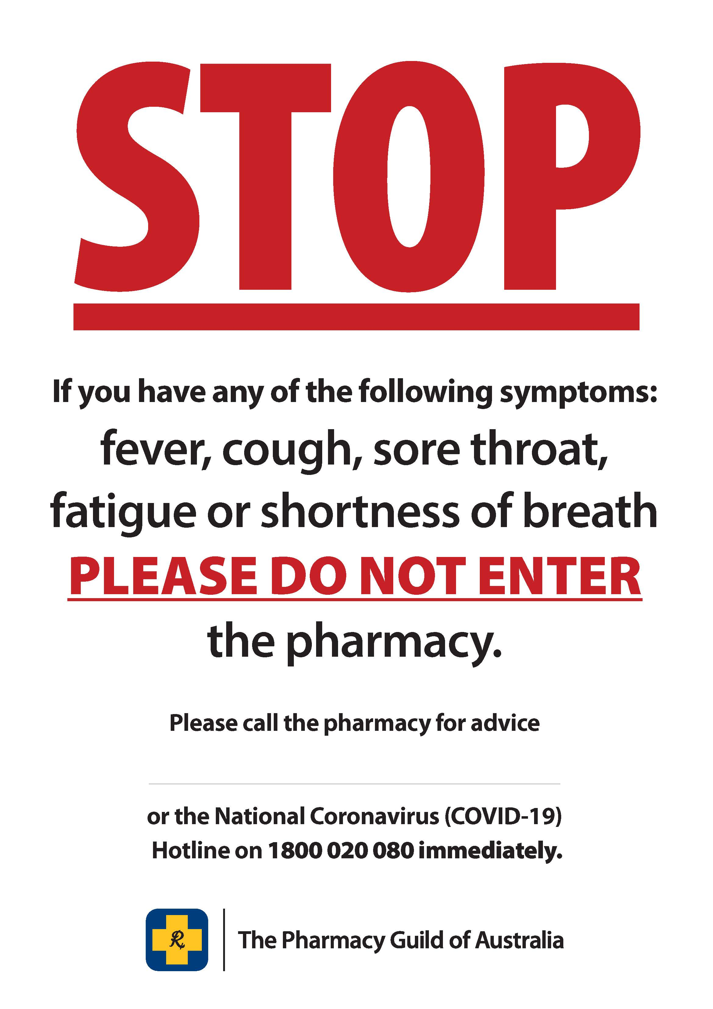 COVID-19 Poster 4 - Call the pharmacy for advice