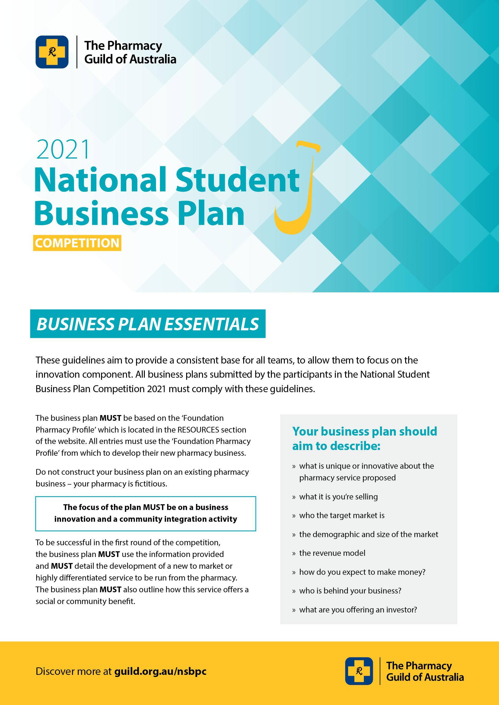 NSBPC 2021 Business Plan checklist image