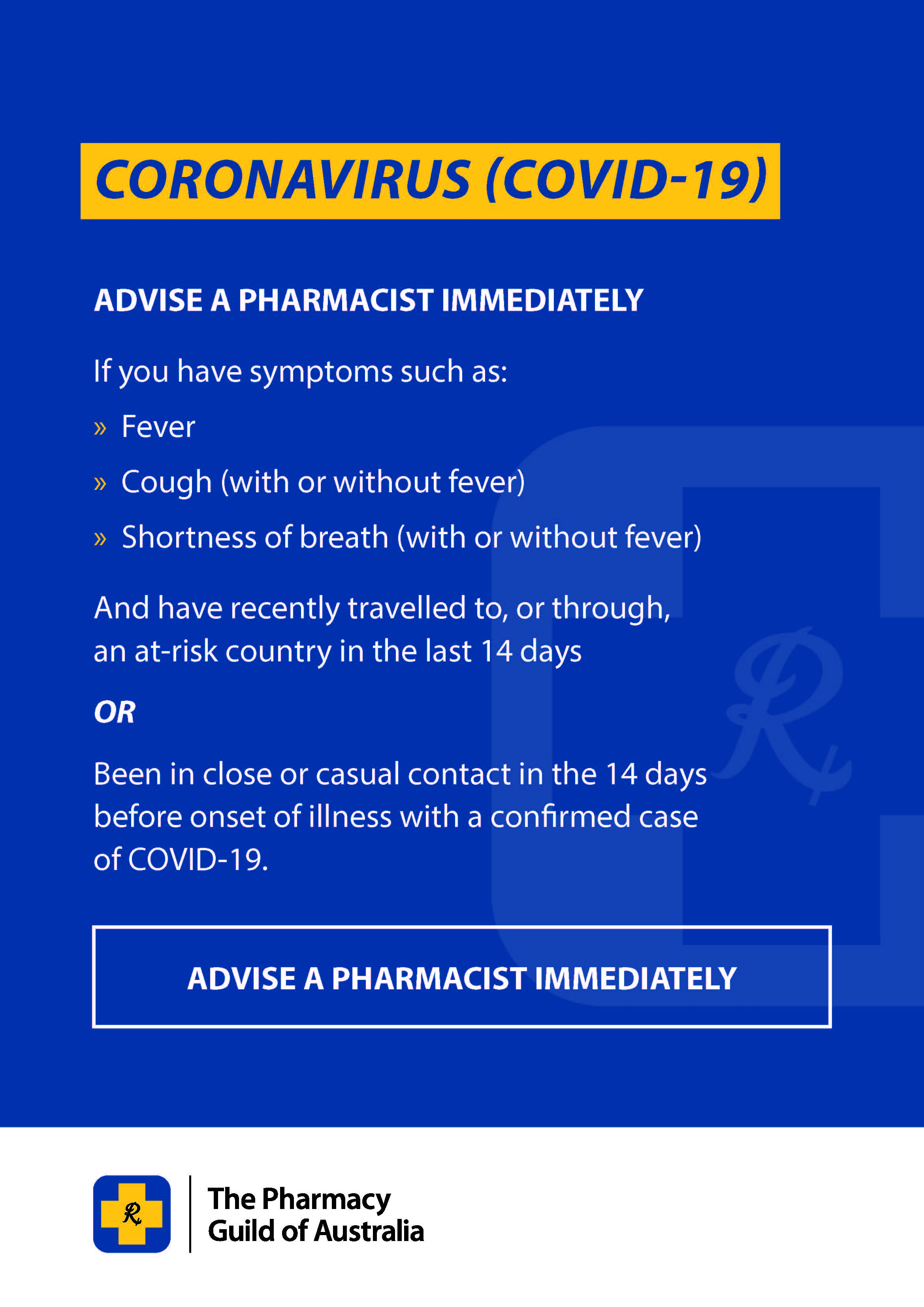 COVID-19 Poster 2 -  Advise Pharmacist