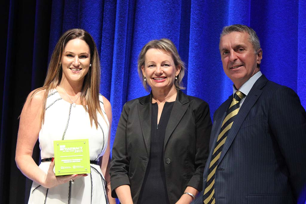 Hannah Mann, Health Minister Sussan Ley and George Tambassis