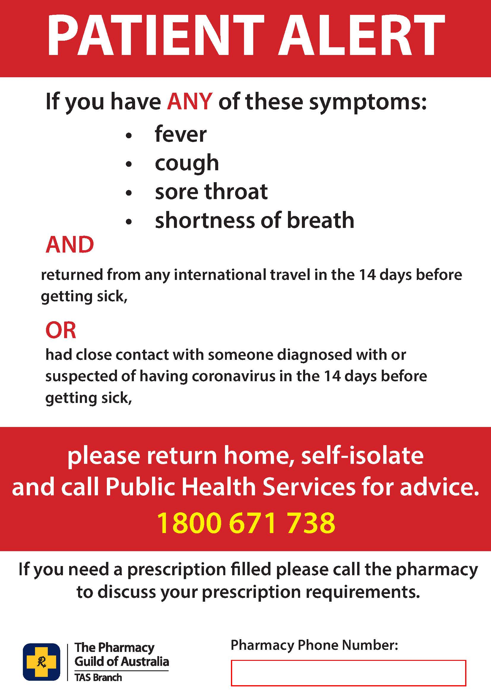 Poster - Patient Alert Poster (with phone number)