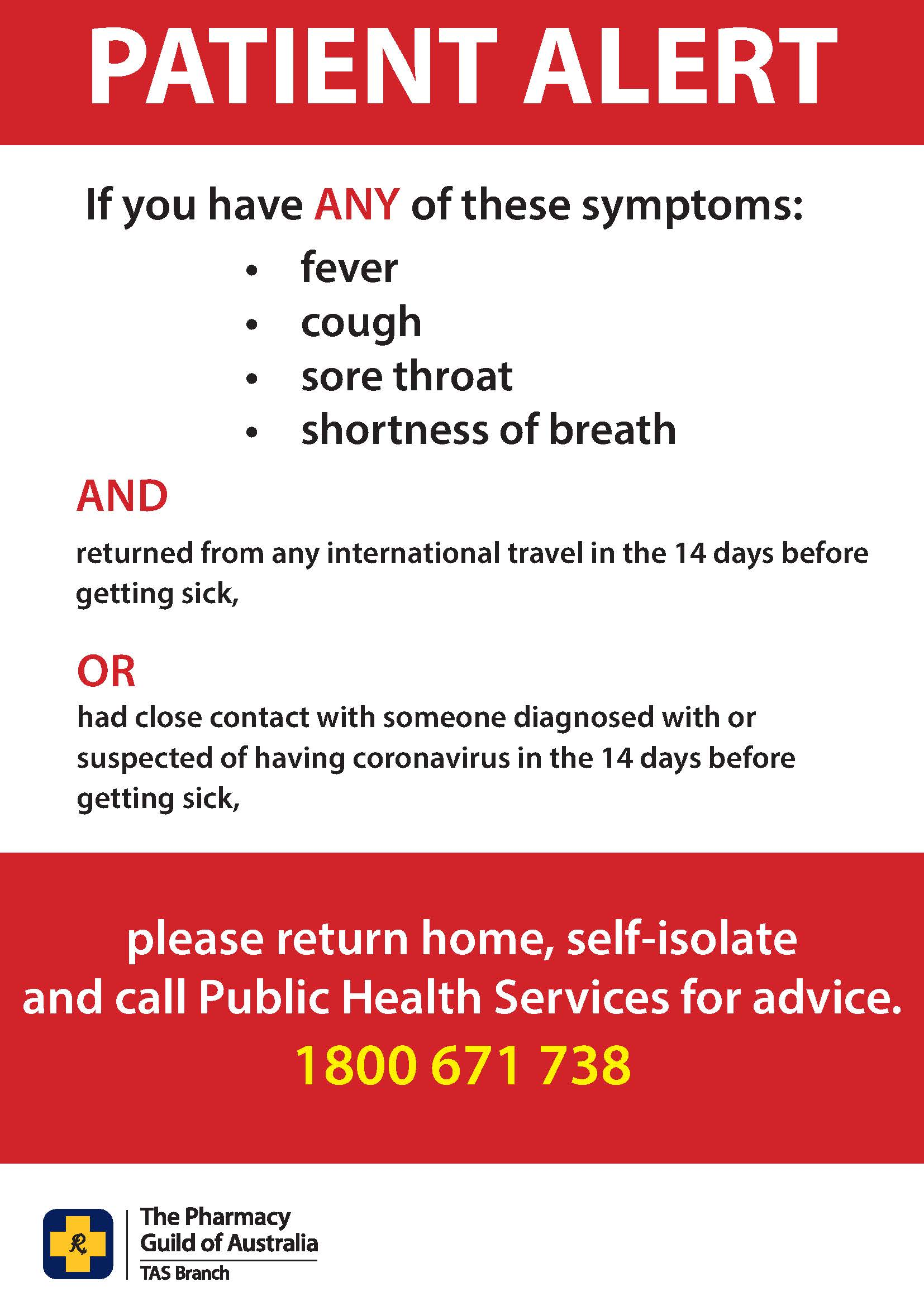 Poster - Patient Alert Poster (without phone number)