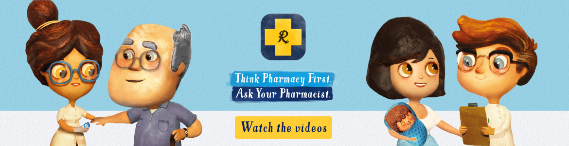 Think Pharmacy First. Ask Your Pharmacist campaign banner - watch the videos