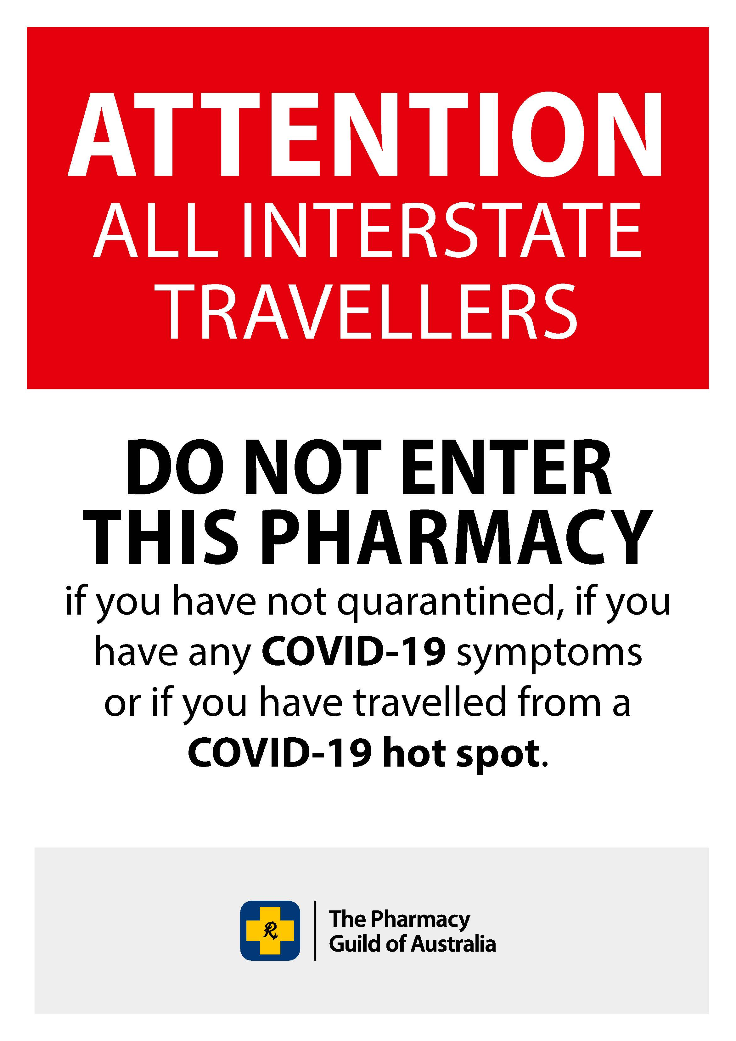 COVID-19 Poster 13 - Interstate Travellers